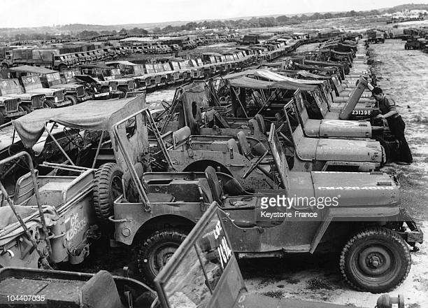 Some of the 800 secondhand jeeps seen at Bordon Hampshire Thousand lots are being offered for sale in the large auction of surplus military vehicles...
