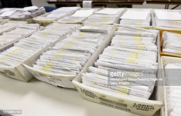 Some of the applications for mail-in ballots received. At the Berks County Office of Election Services in the Berks County Services Building in...