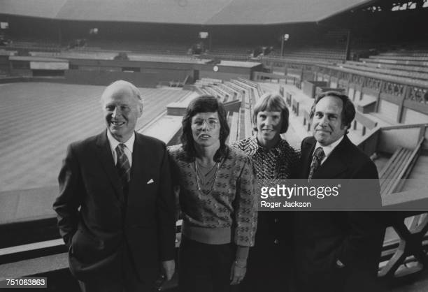 Some of the attendees after a meeting of the committee of the the All England Lawn Tennis Club to discuss more equal prize money for male and female...