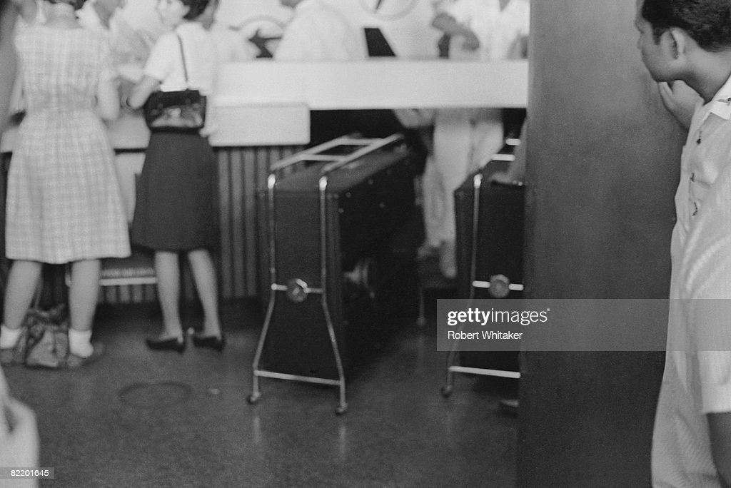 Some of the Beatles' luggage at Manila International Airport in the Philippines, as the group left the country during their final world tour, 5th July 1966. The group made a hasty exit from the Philippines, after a perceived snub on President Ferdinand Marcos and his wife Imelda resulted in much official hostility, including the withdrawal of police protection for the group.