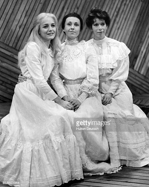 Some of the cast of a production of The Cherry Orchard by Anton Chekhov at the Riverside Studios in London Shown are Caroline Langrishe who plays...