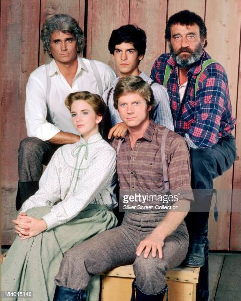 Some of the cast of the American TV series 'Little House On The Prairie', circa 1980. Clockwise, from top, left: Michael Landon as Charles Ingalls,...