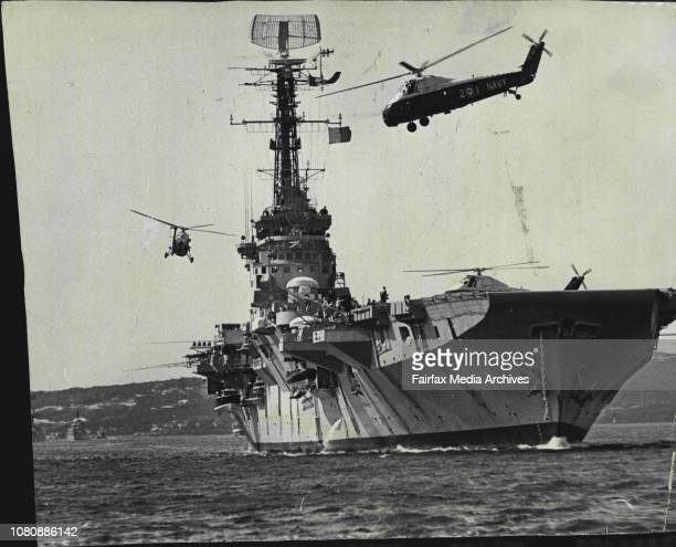 Some of the choppers circle the carrier while others wait to Tabard Trump September 4 1963
