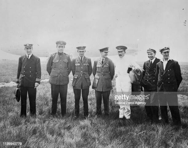 Some of the crew of the British airship R.34 at Mineola, Long Island, New York, after completing first east to west transatlantic flight, July 1919....