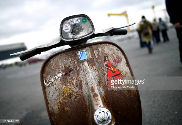 Some of the detailing on Vespa scooters on display as the 2018 Vespa International World Days event takes place at the Titanic slipways on June 17,...