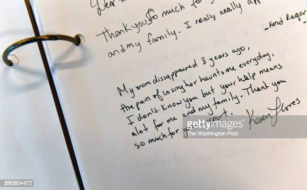 Some of the entries into a book that those seeking loved ones can write down their thoughts and feelings are heartbreaking December 03 2017 in...
