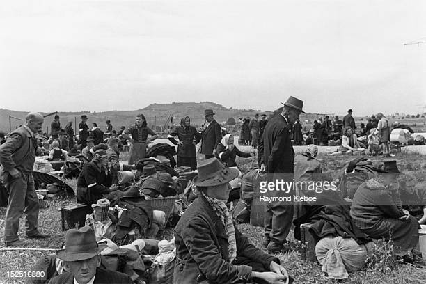 Some of the estimated two and a quarter million Germans who are being expelled from Czechoslovakian territory, after the collapse of German power in...