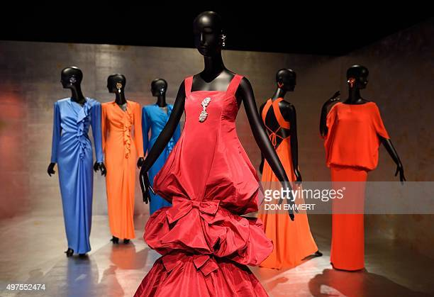 Some of the fashion designs in the exhibit 'Jacqueline de Ribes The Art of Style' at the Metropolitan Museum of Art November 17 2015 in New York The...
