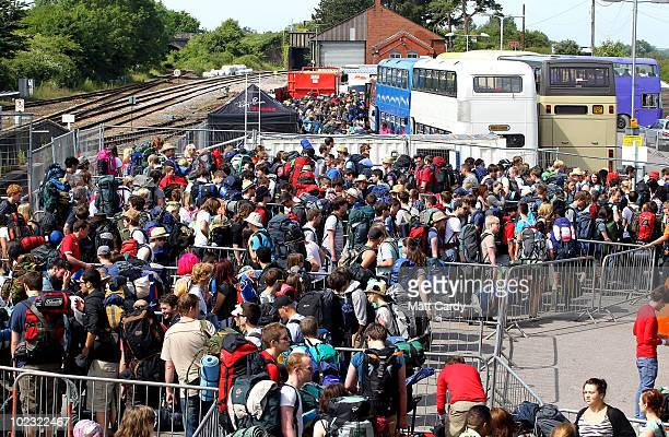 Some of the first of the 140,000 music fans due at this year's Glastonbury Festival begin to arrive at Castle Cary railway station on June 23, 2010...