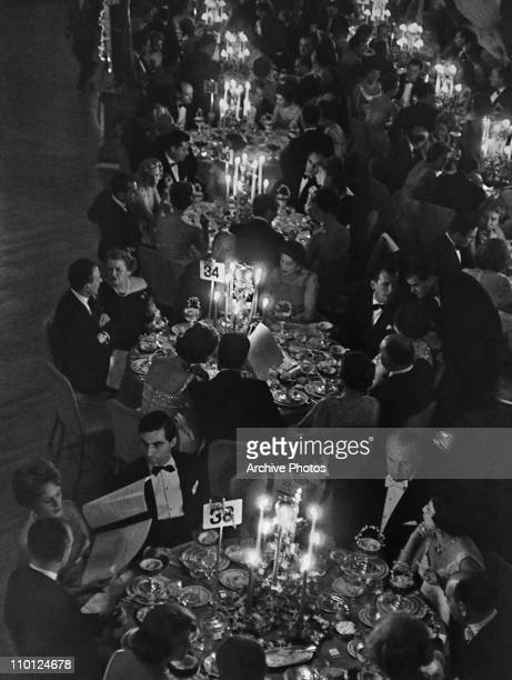 Some of the guests dining at the Knickerbocker Ball at the Waldorf Hotel, New York City, 1959.
