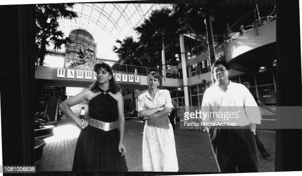 Some of the Harbourside tenants at Darling Harbour who have been told to leaveL to R Cynthia Martin Lisa Davey and Oscar Reyes February 13 1989
