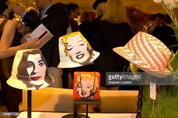 Some of the hats from the new collection during Philip Treacy Shows His Spring 2003 Hat Collection at Bergdorf's at Bergdorf Goodman in New York...