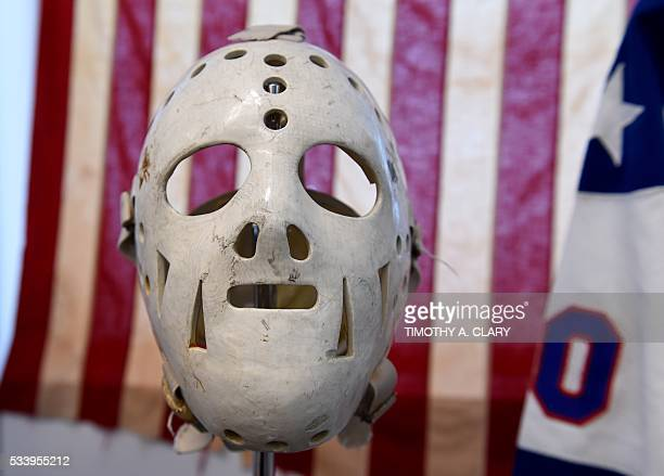 Some of the items from the US Olympic 'Miracle on Ice' from the 1980 US Winter Olympic games belonging to goalie Jim Craig are seen during a press...