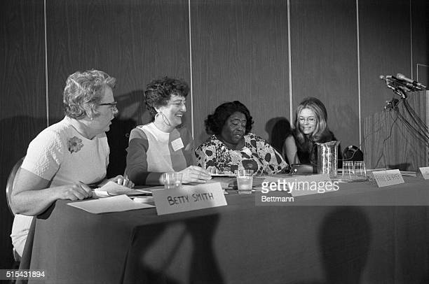 Some of the keynote speakers at the opening of the National Women's Political Caucus enjoy a light moment Left to right are Betty Smith former vice...