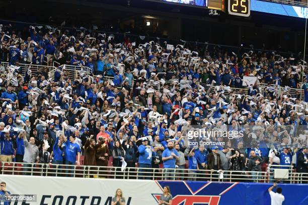 Some of the large crowd of 30000 fans as seen during an XFL game between the New York Guardians and the St Louis BattleHawks on February 23 at The...