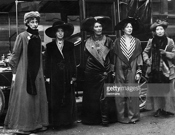 Some of the leaders of the British women's suffrage movement The second and third women from right are the sisters Christabel and Sylvia Pankhurst...