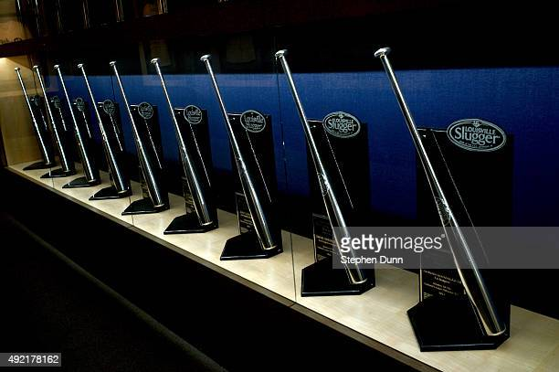Some of the Los Angeles Dodgers Louisville Silver Slugger Awards are displayed inside Dodger Stadium before game two of the National League Division...