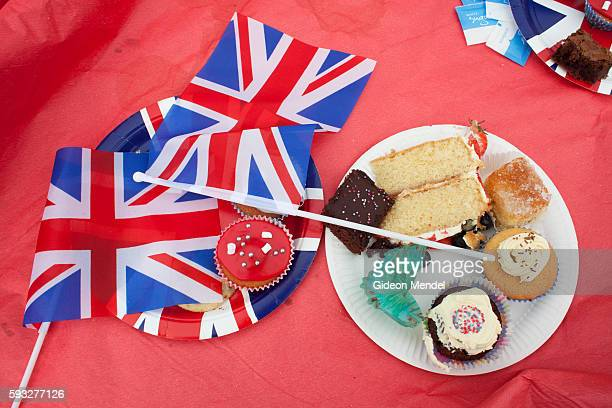 Some of the many cakes made by residents of Ruan Minor left behind at the end of a local celebration and street party held for the queen's diamond...