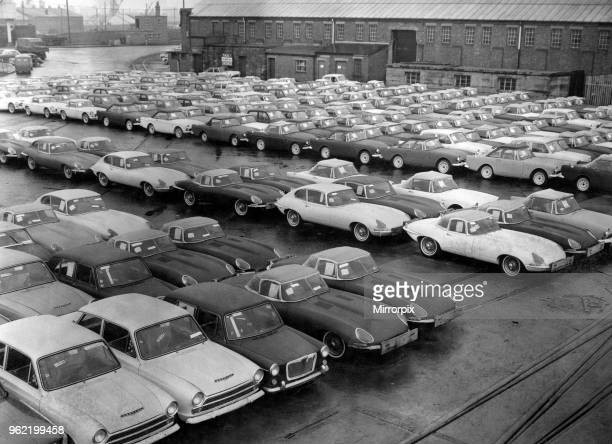 Some of the many cars waiting for shipment from the Queen Alexandra Dock at Cardiff Docks these are just a few of the 30000 vehicles a year which are...
