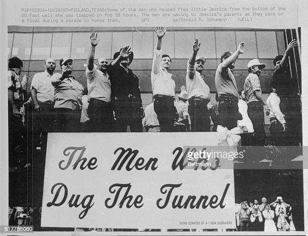 Some of the men who helped free little Jessica from the bottom of the 20 foot well she was trapped in for 58 hours The men are waving to Jessica's...