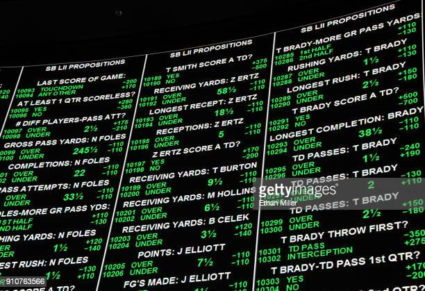 Some of the more than 400 proposition bets for Super Bowl LI between the Philadelphia Eagles and the New England Patriots are displayed at the Race...