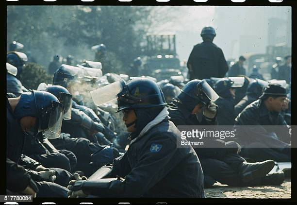 Some of the more than 8500 policemen taking part in an 11hour battle with radical Tokyo University students rest during the fighting The radicals...