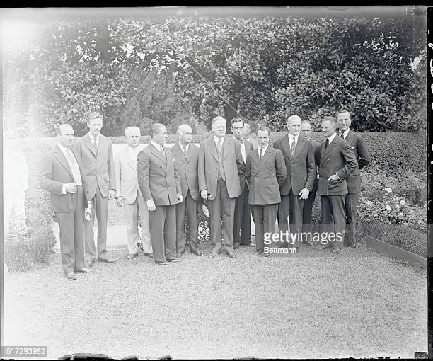 Some of the most prominent figures in the world are seen here on the White House lawn, after the official state luncheon to the famous French Fliers,...