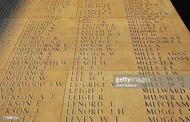 Some of the names of over 72000 soldiers killed in the Battle of Somme carved into a stone memorial at the Thiepval Memorial and AngloFrench cemetery...