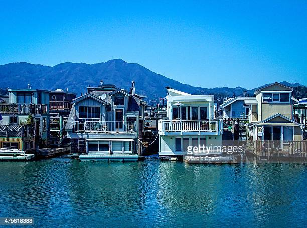 Some of the over 400 houseboats located in the Sausalito Marina California