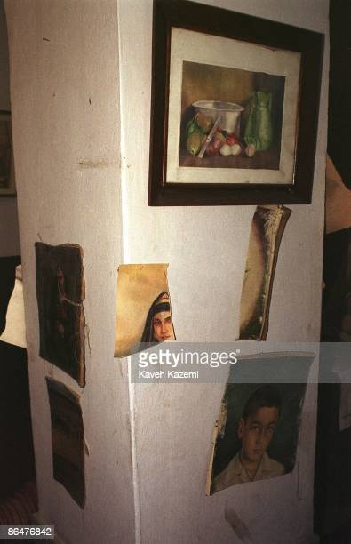 Some of the paintings from the Kabul National Gallery which were shredded by the Taliban are preserved on the walls of the city's museum 23th April...