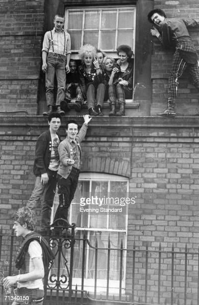 Some of the punks and skinheads who faced eviction from the house they were squatting in the Hillview Estate in the King's Cross area of London 25th...