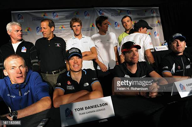 Some of the race's top riders meet with members of the press. They are from left to right: Robert Gesink, of the Netherlands who rides for Rabobank...