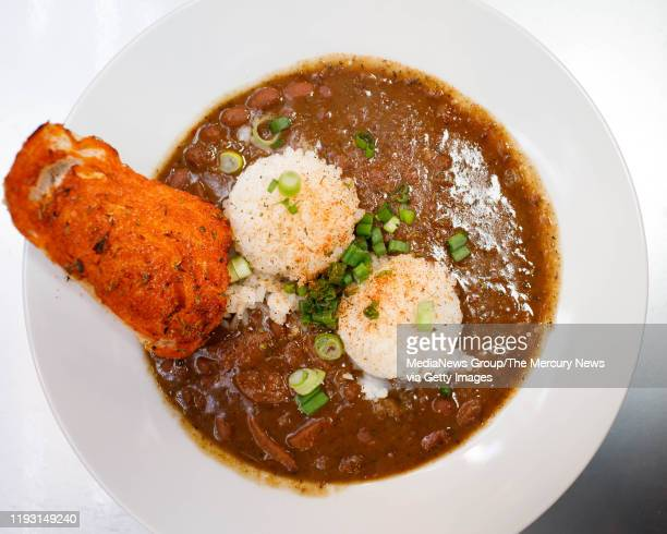 Some of the red beans and sausage with white rice at Roux Dat Cajun Creole at Abbott Square Market in Santa Cruz Calif on Thursday Dec 5 2019