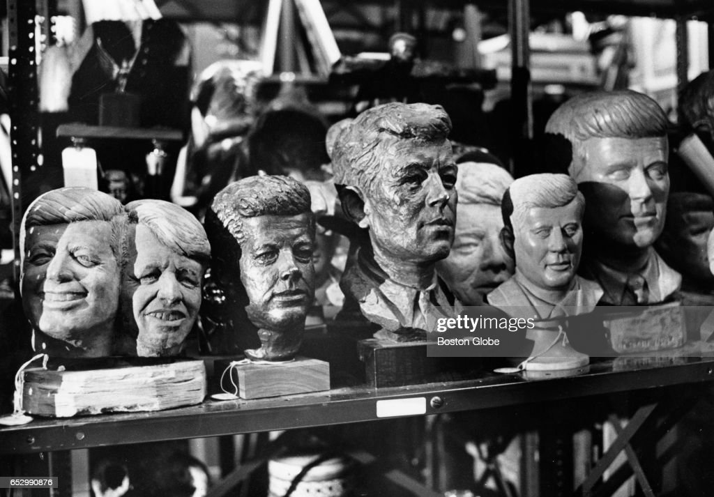 Some of the sculptures of John F. Kennedy at The John F. Kennedy Library in Waltham, Mass., August 1979. [date estimated to month]