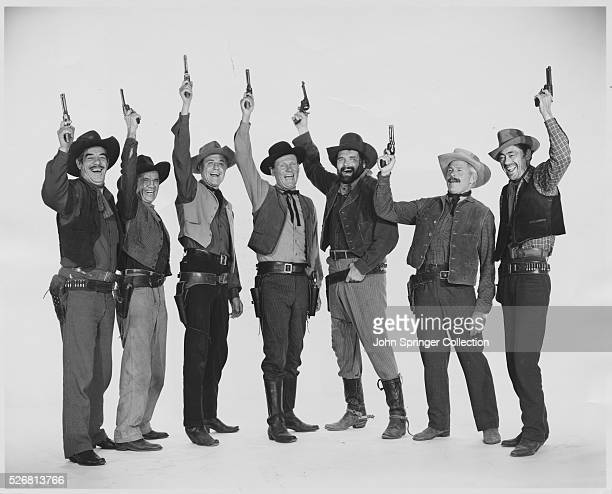 Some of the stars of Alias Jesse James are from left to right, Glen Strange, Ethan Laidlaw, Jim Davis, Wendell Corey, Mickey Finn, Fred Kohler, and...