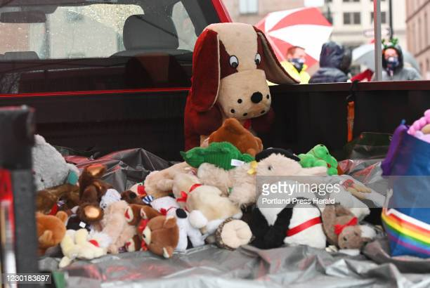 Some of the Teddy Bears collected early on during the Teddy Bear Toss Saturday, Dec. 5, 2020. The Maine Mariners and Cross Insurance Arena, in...