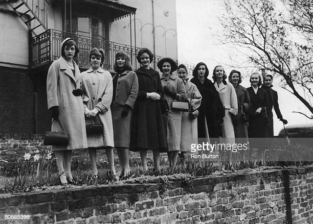 Some of the teenage debutantes chosen by French fashion designer Pierre Cardin to model his dresses at the forthcoming Berkeley Debutante Dress Show...