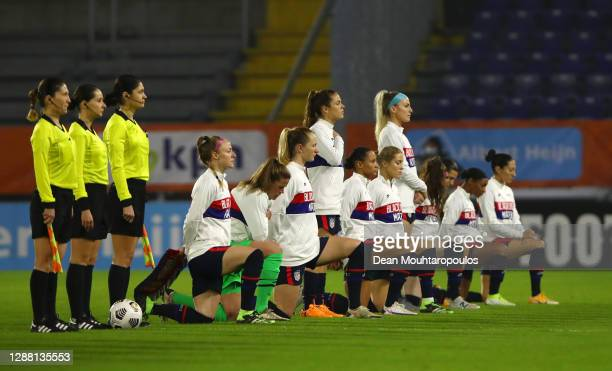 Some of the USA players take a knee in support of the Black Lives Matter Movement during the national anthem prior to the International Friendly...