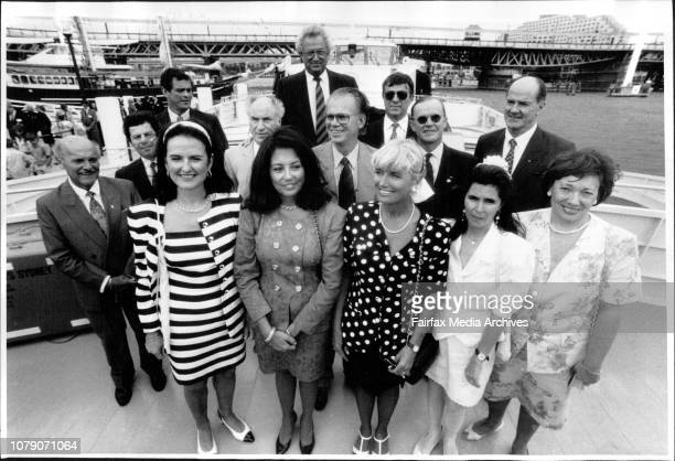 Some of the visiting IOC members at the launch of the river cats at the Darling Harbour acquarium today January 25 1993