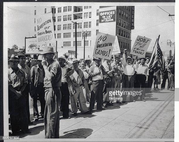 Some of the workers belonging to the WPA plus a contingent of unemployed, are shown as they joined the Worker's Alliance Parade on the Los Angeles,...