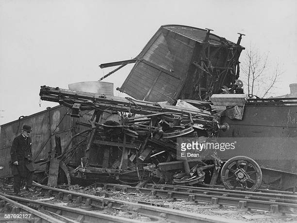 Some of the wreckage of a freight train which derailed near West Hampstead north London during its run from Manchester to London St Pancras 23rd...