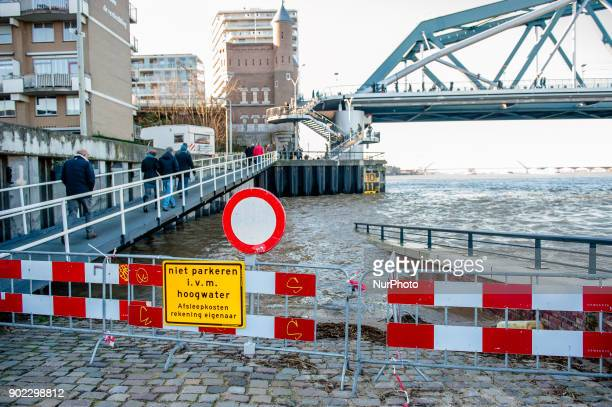 Some parts of the Waalkade are already flooded in Nijmegen The Netherlands on January 7 2018 after heavy rainfalls