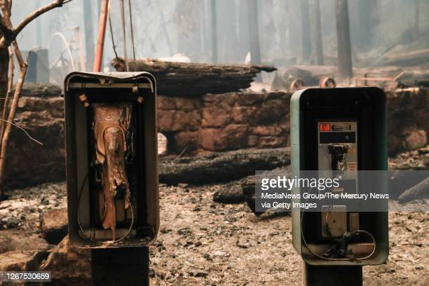 Some pay phones are burned during a blaze that destroyed the Big Basin Redwoods State Park Headquarters & Visitor Center in Boulder Creek, Calif., on...