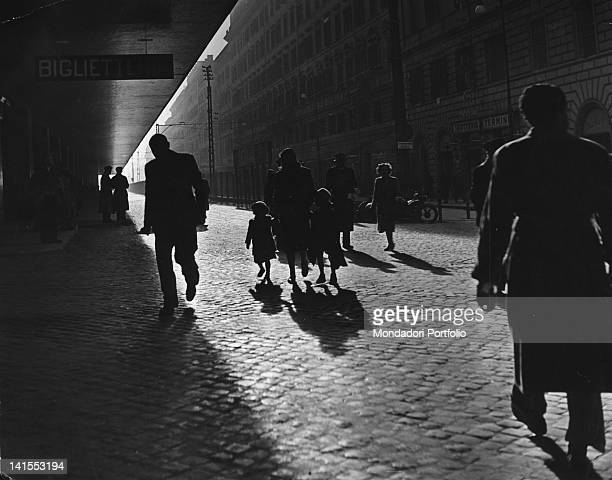 Some pedestrians walking in front of Termini station in Rome Rome 1950s