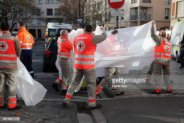 Some People are been transfered to a local hospital near the site of this morning police raidon November 18 2015 in SaintDenis France