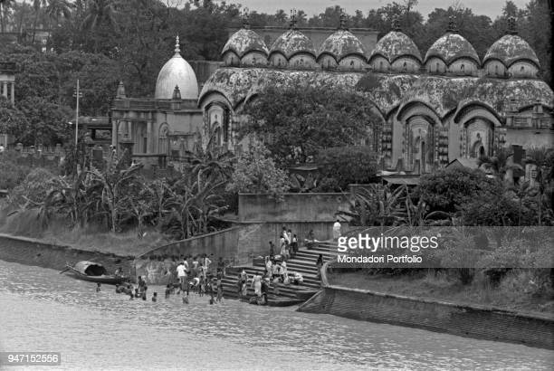 Some people bathing in the Hooghly river Kolkata 1962