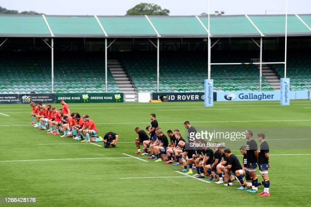 Some players of both teams take a knee in support of the Black Lives Matter movement prior to Gallagher Premiership Rugby match between Worcester...
