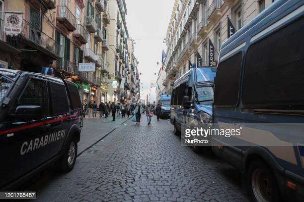 Some police officers outside the Augusteo theater in Naples Italy on February 18 2020
