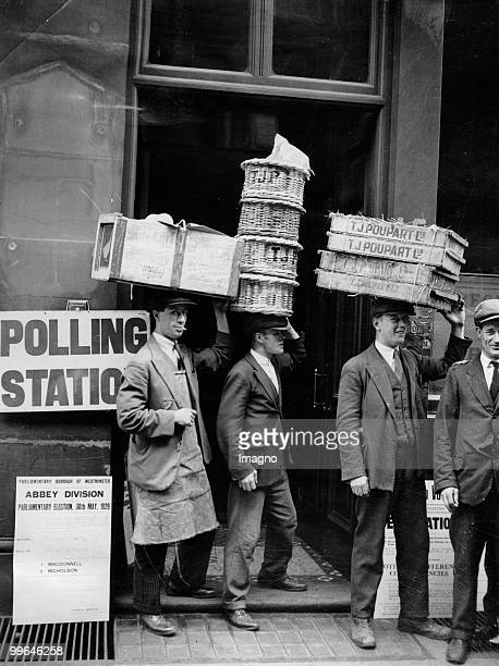 Some product carrier from Covent Garden Market are leaving with their encumbrances a polling station near to their Market The election in 1929 were...