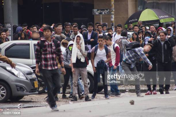 Some protestans in the demonstrations that lasted more than five hours in the vicinity of the Pedagogical University of Bogota Colombia on 13...